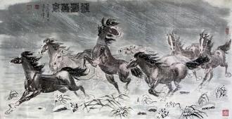 刁立(中美协会员)国画动物画 四尺横幅《程风万里》马