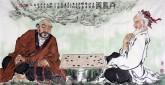 刁立(中美协会员)国画人物画 四尺横幅《弈戏图》
