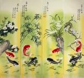 凌雪 国画写意花鸟画四条屏《年年有余》鲤鱼 9-5
