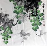 (预定)邵其宏(一级美术师)四尺斗方 国画葡萄《秋实》