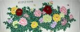 凌雪 小八尺横幅 国画工笔牡丹《花开富贵》17-1