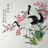 (已售)凌雪 四尺斗方 国画花鸟画《鹤寿图》17-10
