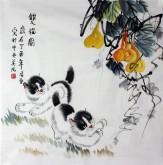 (已售)凌雪 四尺斗方 国画动物画《猫趣图》小猫葫芦17-17