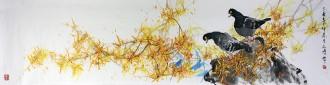 武文博(询价)(娄师白艺术研究会会员) 四尺对开 国画写意花鸟画 和平鸽 迎春花