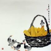 武文博 四尺斗方 (询价)国画写意花鸟画 小鸭 玉米