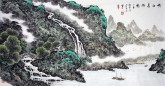 蓝国强 四尺横幅 国画山水画《峡江泉韵图》