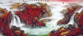 黄胜荣 国画聚宝盆山水画 小八尺横幅 2.4米《秋阴不散双飞晚 留得孤山听雨声》