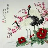 凌雪 四尺斗方 国画工笔画《鹤寿图》仙鹤9-18