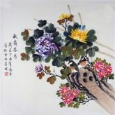 凌雪 四尺斗方 国画工笔画《秋菊芬芳》9-4