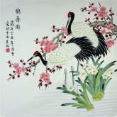 凌雪 四尺斗方 国画工笔画《鹤寿图》仙鹤9-17
