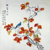 凌雪 四尺斗方 国画工笔画《秋叶正红》红叶9-3