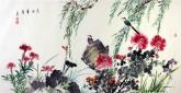 白洋 国画写意花鸟 四尺横幅 《鸟语华香》牡丹荷花鸡冠花