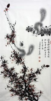 薛大庸(一级美术师)国画动物松鼠画 三尺竖幅《似鼠却玲珑》9-4