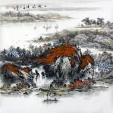 (已售)杨秀亮(吉林省美协) 国画山水画 精品四尺斗方《一帆风顺》
