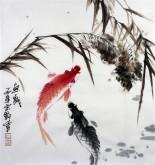 石云轩 国画写意花鸟画 三尺斗方《鱼戏》鲤鱼11-29