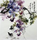 石云轩 国画写意花鸟画 三尺斗方《紫气东来》紫藤小鸡11-20