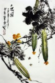 石云轩 国画写意花鸟画 四尺三开《三思图》丝瓜11-1
