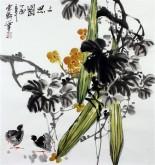 石云轩 国画写意花鸟画 三尺斗方《三思图》丝瓜11-18