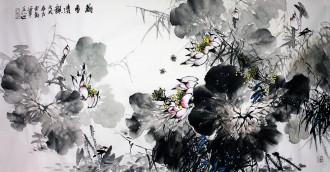 石云轩 国画写意花鸟画 四尺横幅《荷香清韵》荷花12-4