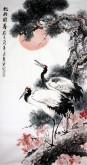 (已售)石云轩 国画写意花鸟画 四尺竖幅《松龄鹤寿》松树仙鹤12-2