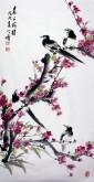 王学增 国画写意花鸟 三尺竖幅《喜上梅梢》红梅花喜鹊1-4