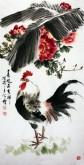 王学增 国画写意花鸟 三尺竖幅《春风送吉祥》牡丹公鸡1-2