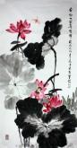石云轩 国画写意花鸟画 四尺竖幅《香风十里弄晴晖》荷花蜻蜓12-12