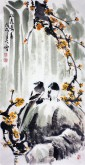 王学增 国画写意花鸟 三尺竖幅《双喜鸣春》梅花1-15