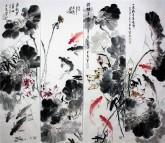 (已售)石云轩 国画写意花鸟画 四条屏《年年有余》荷花鲤鱼12-2