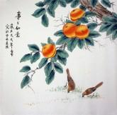 凌雪 四尺斗方 国画工笔画《事事如意》柿子1-10