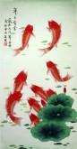 凌雪 三尺竖幅 国画花鸟画《年年有余》风水九鱼图1-1