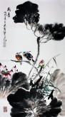 石云轩(广西美协) 三尺竖幅《荷香》荷花13-6