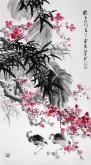 石云轩(广西美协) 三尺竖幅《梅竹》红梅 竹子13-7