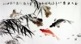 石云轩(广西美协)三尺横幅《秋水鱼乐》双色鲤鱼13-14