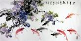 石云轩 国画写意画 风水九鱼图 四尺横幅《连年有余》紫藤鲤鱼13-3