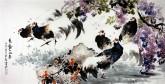 石云轩 国画写意花鸟画 四尺横幅《花动一山春》紫藤锦鸡13-1