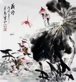 (预定)石云轩 国画写意花鸟画 三尺斗方《荷风》荷花蜻蜓13-6
