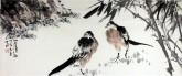 (已售)孙克升(河北美协会员)国画花鸟画 40*90cm《竹荫清趣》竹子喜鹊