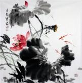 (预定)石云轩 国画写意花鸟画 四尺斗方《莲塘鱼戏》荷花鱼13-4