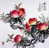 石云轩 国画写意花鸟画 四尺斗方《献寿图》桃13-2