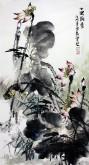 石云轩(广西美协) 三尺竖幅《十里荷香》荷花14-4