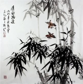 石云轩 国画写意花鸟画 四尺斗方《清风满堂》竹子14-6
