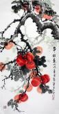 石云轩(广西美协) 三尺竖幅《事事如意》柿子14-16