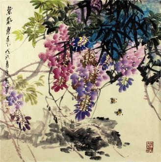 石云轩 国画写意花鸟画 四尺斗方《紫气东来》紫藤14-4