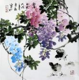 石云轩 国画写意花鸟画 三尺斗方《紫气》紫藤14-14