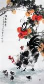 (已售)石云轩 国画花鸟画 四尺竖幅《事事如意》柿子公鸡14-12