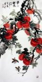 石云轩(广西美协) 三尺竖幅《事事如意》柿子14-14