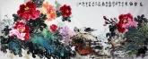 (已售)石云轩 国画写意花鸟画 小六尺横幅《花开富贵》牡丹15-1