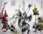石云轩 国画写意花鸟画 四条屏《梅兰竹菊四条屏》1-2