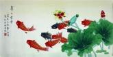 (已售)凌雪 三尺横幅 国画花鸟画《年年有余》荷花鲤鱼2-16